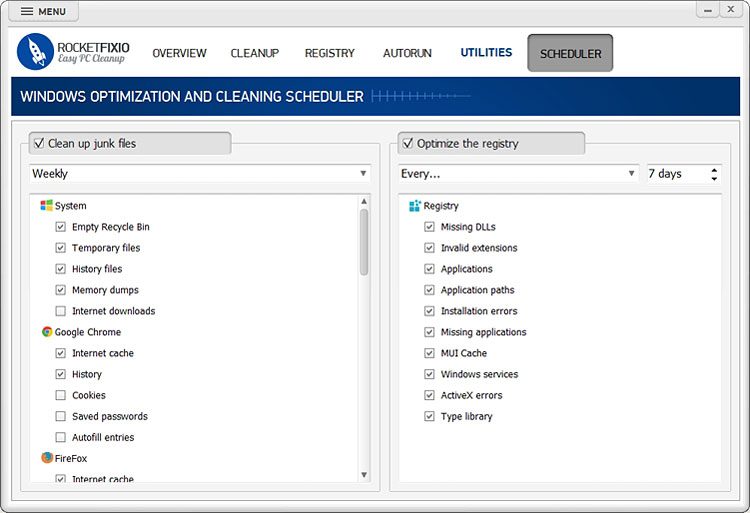 Windows optimization scheduler